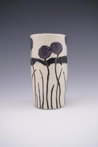 """Allium plants on side of 8"""" porcelain vase"""