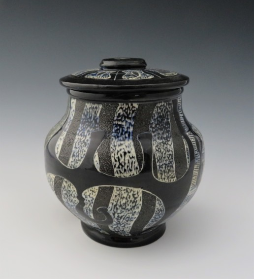 "Blue geometric lidded jar 4.5"" x 6.25"" $90"