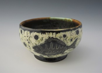 """Fishes bowl 5.25""""x 3"""" $25 (has crack on outside bottom)"""